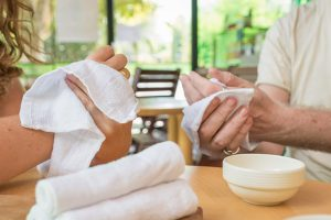 Oshibori towel enjoyed at a cafe